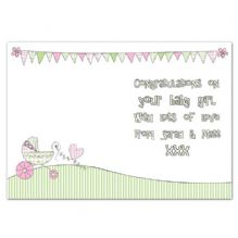 Whimsical Pram Its a Girl Card